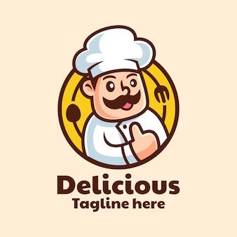 Мультипликационный персонаж шеф-повар дизайн логотипа
