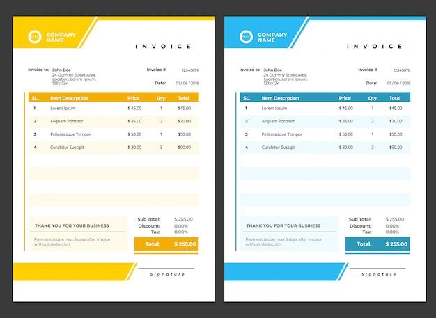 Современный минималистичный шаблон счета