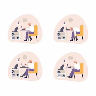 Усталый и скучающий человек работает с компьютером. плоская иллюстрация потехи утомленного студента изучая или работая используя стол пк дома. молодой человек читает электронную почту, кодирует сайт, спит за столом