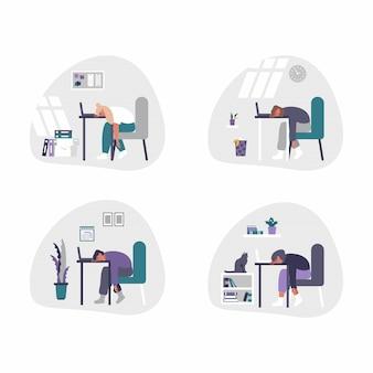 フリーランスとビジネスの男性と女性の在宅勤務-ホームオフィスの概念図。男性と女性は疲れていて、退屈で、ラップトップのあるデスクで眠りに落ちます。
