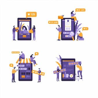 Вирусный контент концептуальные иллюстрации. любит, делится и комментарии появляются на экране мобильного телефона. видеоконтент для миллениалов. плоские редактируемые иллюстрации, картинки