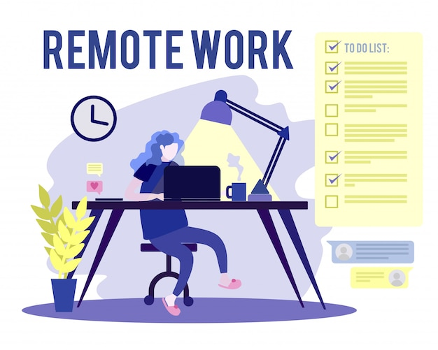 リモートで在宅勤務の女性のフラットの概念図。通知付きのデスクでノートパソコンとスマートフォンを使用して自宅で作業するフリーランサーの女性キャラクター。チェックリストを行うには。
