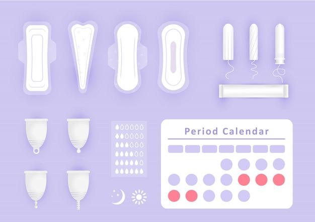 女性用衛生用品-白いナプキン、パッド、月経カップ、タンポンのアイコンセット。重要な日の女の子の保護。フラットスタイルの個人の衛生要素。