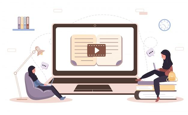 Интернет образование. плоская концепция проекта обучения и видеоуроки. студент учится дома. иллюстрация для веб-сайта баннер, маркетинговые материалы, шаблон презентации, интернет-реклама.