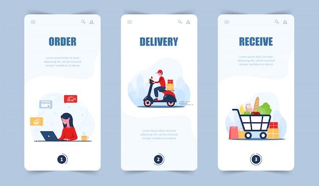 Заказ еды онлайн. доставка продуктов. мобильное приложение и целевая страница. женщина магазин в интернет-магазине. быстрый курьер на скутере. корзина. современная иллюстрация в мультяшном стиле.
