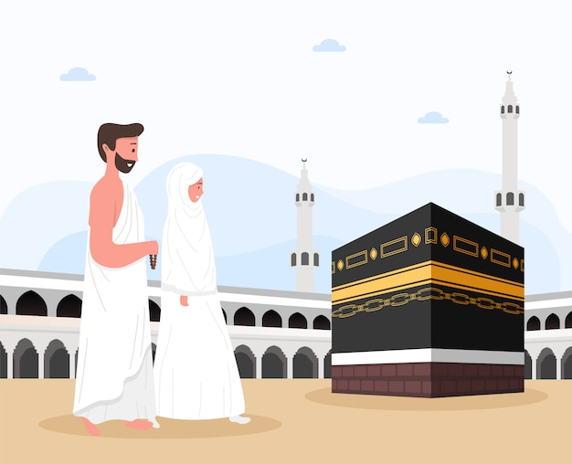 メッカサウジアラビアのメッカ巡礼のカーバ神殿。巡礼は、最初から最後までアラファト山からイードアダムバラクに向かいます。空と雲のイスラムの背景。ハッジの儀式。