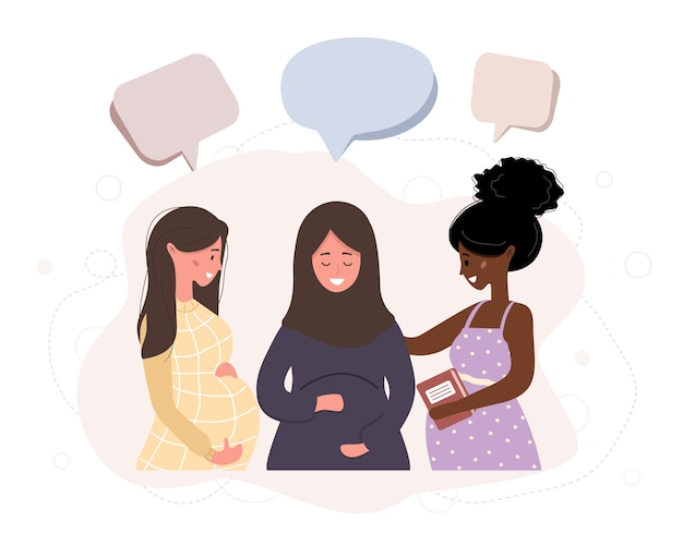 Беременная девушка разговаривать друг с другом. деловые женщины обсуждают социальные сети, общаются с диалоговыми пузырями речи, обсуждают рабочие моменты. современная иллюстрация в стиле.