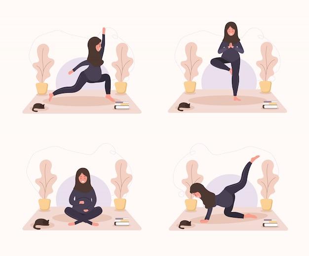 Сбор арабских беременных занимается йогой, ведением здорового образа жизни и отдыхом. комплекс упражнений для девочек. современная иллюстрация в плоском стиле. счастливая концепция беременности на белой предпосылке.