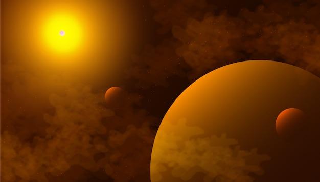 Космический фон с абстрактной формы и планет.