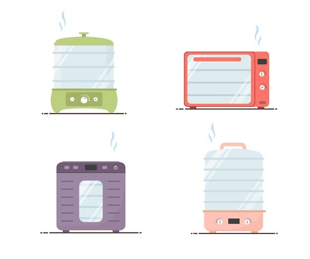電気食品脱水機。乾燥機のセット。健康的な食事のコンセプトです。漫画のスタイルの平らなベクトルイラスト。
