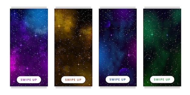 ストーリーテンプレート。漫画のファンタジーの惑星と宇宙背景のセットです。モバイル
