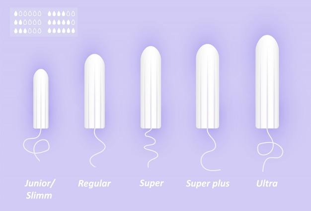 フェミニンなタンポンセット。綿棒のサイズが異なります。女性の月経ケア。親密な衛生用品のリアルなイラスト。