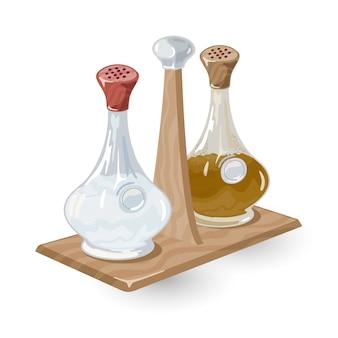 Стеклянный солонка или шейкер и перечница с красными и коричневыми крышками находятся на деревянной подставке.