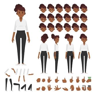 Набор символов африканской бизнес-женщины