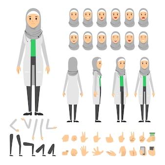 アラブ女性の医者のキャラクターセット