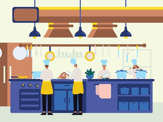 フラットイラストスタイルのキッチンで料理をするシェフ