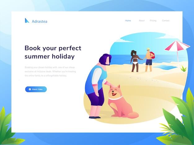 旅行ウェブサイトフラットイラスト