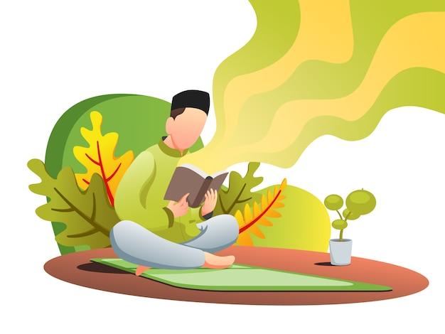 Чтение корана веб плоский иллюстрация