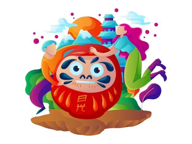 Путешествие в японию веб иллюстрация
