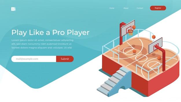 バスケットボールスポーツウェブサイトのベクトル図