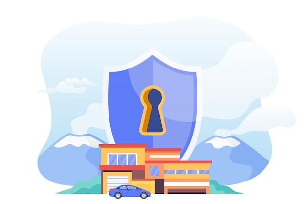 スマートホームイラストのセキュリティシステム