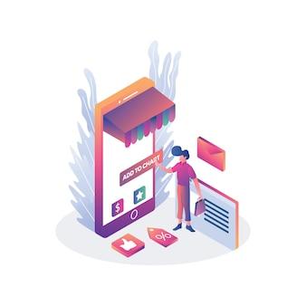 Электронная коммерция интернет магазин иллюстрации