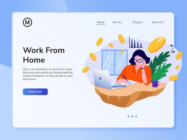 Векторный шаблон дизайна сайта. концепция работы на дому