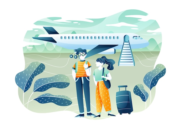 旅行と観光のコンセプト。飛行機で夏休みを楽しんでいる若いカップル