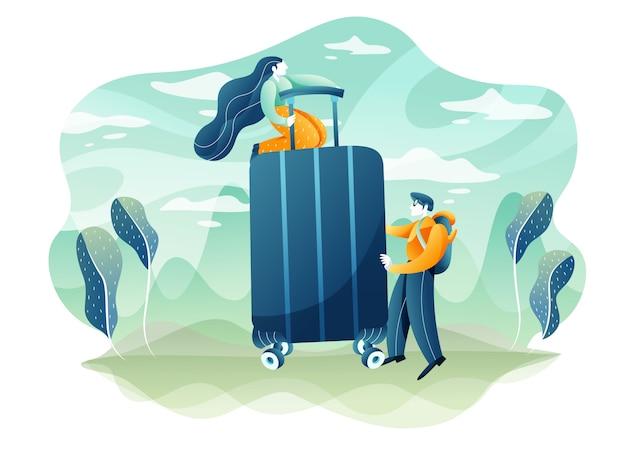 旅行と観光のコンセプト。若いカップルは休暇の準備をしています