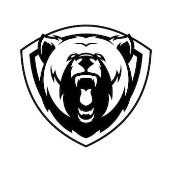 Медведь животного спорта талисман голова логотип вектор