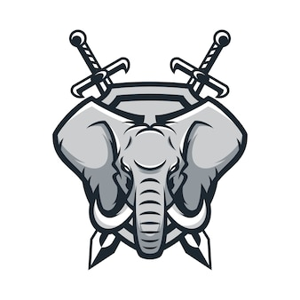 Слон животное спорт талисман голова логотип вектор