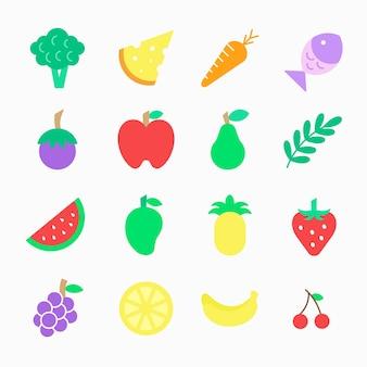 果物や野菜のアイコンを創造的なデザインのロゴのイラスト