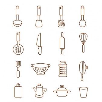 Кухня иконки набор шеф-повар