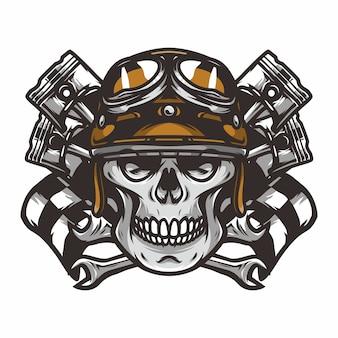 Призрачный райдер черепа дорога байкер вектор талисман иллюстрации