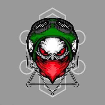 頭蓋骨バイカー手描きイラスト