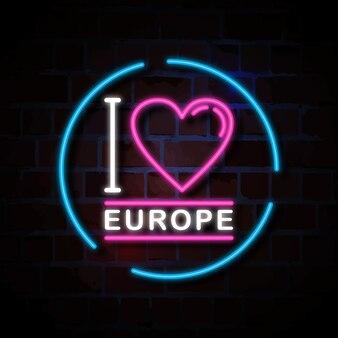 ヨーロッパのネオンサインのイラストが大好き