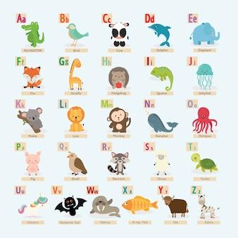 かわいい動物アルファベットのセット