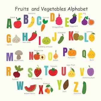 野菜と果物のアルファベットのセット。