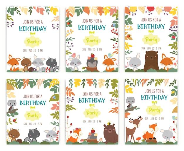 かわいい動物のテーマの誕生日パーティー招待状のベクトルベクトル。