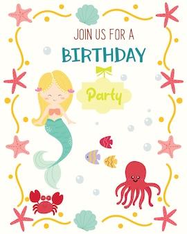 かわいい人魚のテーマの誕生日パーティーの招待状。
