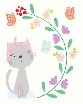 かわいい猫のベクトル。