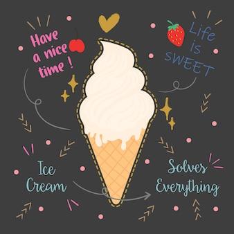 アイスクリームのタイポグラフィデザイン。