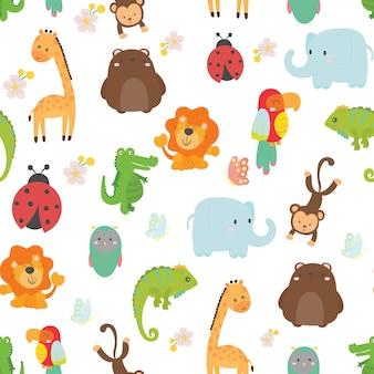 かわいい野生動物のシームレスなパターン背景ベクトル。