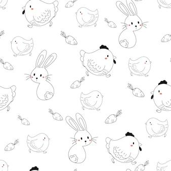 動物落書き要素のシームレスパターン