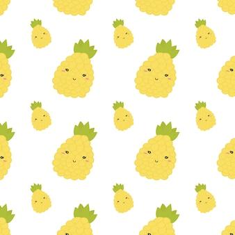 夏のパイナップルのシームレスパターン。ベクター