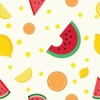 Летние фрукты бесшовные модели. вектор