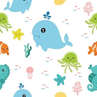 海の動物とのシームレスなパターン。
