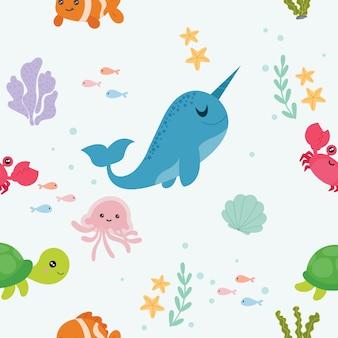 Бесшовный фон с морскими животными.