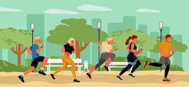 Молодые бегуны проводят время в парке летом. здоровый, активный, спортивный образ жизни, марафон. студент, девушка, парни бегут по очереди. подготовка к пляжному сезону. цель, чтобы прийти в форму. векторная иллюстрация плоский