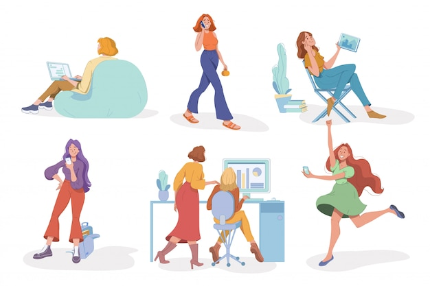 Женщина с технологией связи цифрового гаджета